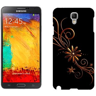 Samsung Galaxy Note3 Neo Design Back Cover Case -  Black Patterns Dark Background Black