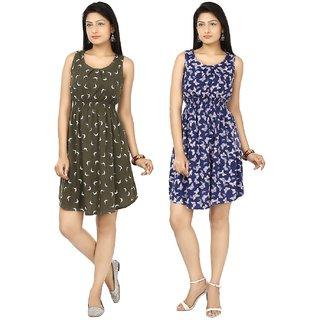 Sukuma Fancy Printed Short Dress Combo of 2 Cmb2-DRS1043-Gry-DRS1045-Blu