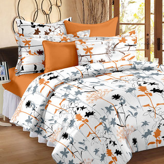Ahem Homes White Double Bedsheet With 2 Pillow Cover(FE1120-AH)