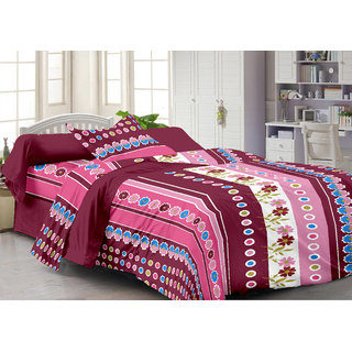 Ahem Homes Pink Single Bedsheet With Pillow Cover(FY1209-AH)