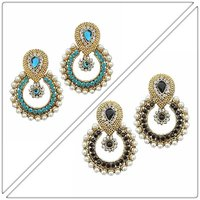Buy Two Sea Blue and Black Pearl Earring Rs 349