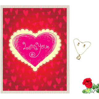 meSleep Love You Valentine Canvas (14x18) With Free Artificial Rose  Pendant Set