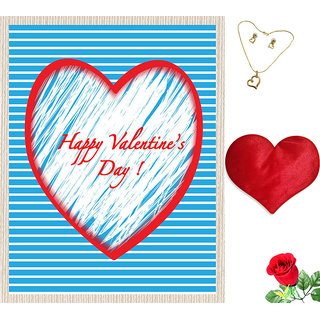 meSleep Blue Happy Valentine Canvas (14x18) With Free Heart Shaped Filled Cushion and Artificial Rose and Pendant Set