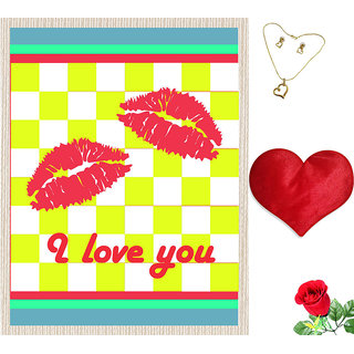 meSleep I Love You Valentine Canvas (14x18) With Free Heart Shaped Filled Cushion and Artificial Rose and Pendant Set