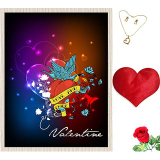 meSleep Love And Valentine Canvas (14x18) With Free Heart Shaped Filled Cushion and Artificial Rose and Pendant Set