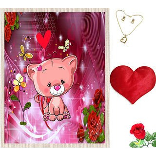 meSleep Pink Teddy Valentine Canvas (14x18) With Free Heart Shaped Filled Cushion and Artificial Rose and Pendant Set