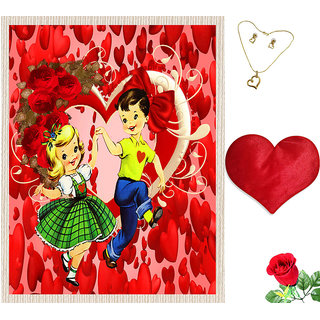 meSleep Valentine Couple Canvas (14x18) With Free Heart Shaped Filled Cushion and Artificial Rose and Pendant Set