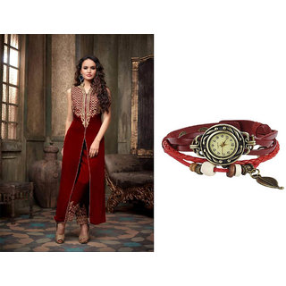 Maroon - Festival Combo Offer Of Dark Maroon Butta Salwar Suit With Dark Maroon