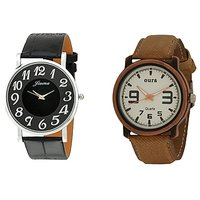 Oura Analog Round Casual Wear Watch For Men Pack Of 2