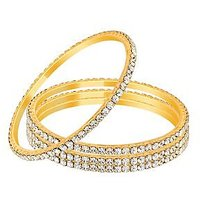 Sparkling Golden And Silver Bangles - Set of 4