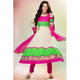 Blazing Cream And Pink Colour Anarkali Suit Showing Resham, Zari Embroidery With Patch Patta Work