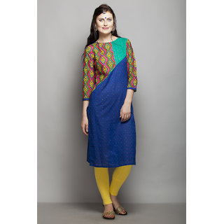AAIRA 34 SLEEVES KURTI WITH PRINTED SLEEVES AND YOKE WITH CONTRAST DOBBY AND PI available at ShopClues for Rs.980