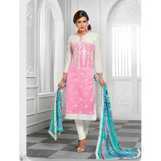 Thankar New Arrival Pink And Off White Anarakli Suit