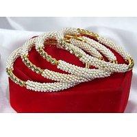 White Pearl Golden Stone Four pc Bangles