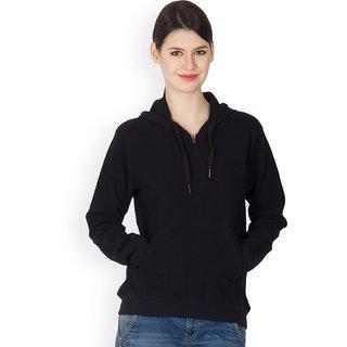 Hypernation Black Cotton Hooded Jacked For Women