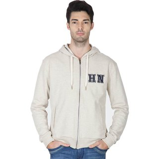 Hypernation Ecru Melange Cotton Hooded Jacked For Men