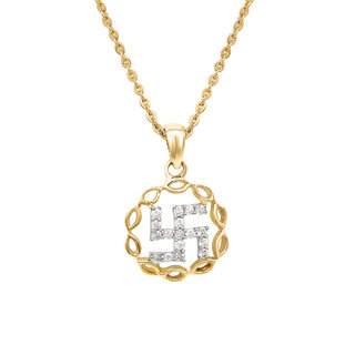 Mahi Gold Plated Swastik Religious Pendant with CZ for Men Women PS1101528G