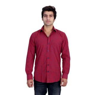 25th R Mens Red Checks Cotton Blend Slim Fit Casual Shirts