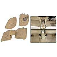 Hi Art 3D Beige Floor and Foot Mats for Renault Pulse