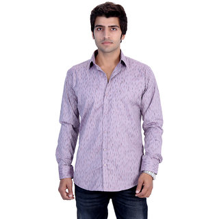 25th R Mens Printed Pink Cotton Blend Slim Fit Casual Shirts