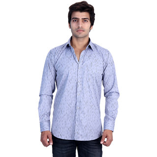 25th R Mens Printed Grey Cotton Blend Slim Fit Casual Shirts