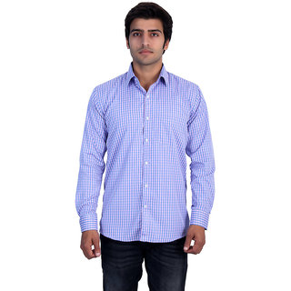 25th R Mens Pink Checks Cotton Blend Slim Fit Casual Shirts