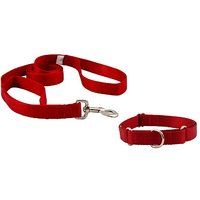 Pawzone  Red  Leash With Collar Set For Dogs-Medium