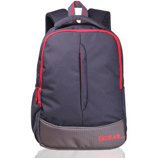 F Gear Grey Red Polyester Casual Backpack