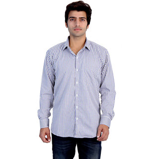 25th R Mens Yellow Checks Cotton Blend Slim Fit Casual Shirts