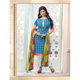 Thankar Heavy Blue Cotton Salwar Kameez
