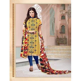 Thankar Heavy Yellow Cotton Salwar Kameez