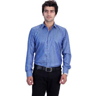 25th R Mens Blue Checks-Green Dots Cotton Blend Slim Fit Formal Shirts