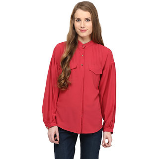 Rare Red Georgette Solid Long Sleeves Shirts For Women