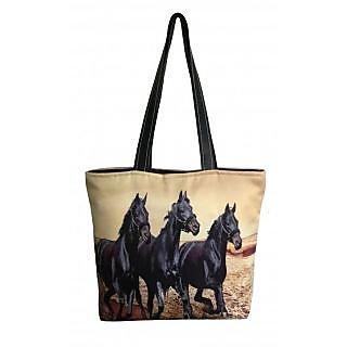 Lushomes Black Horse Digital Printed Polyester Tote