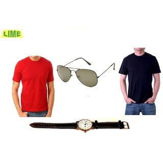 Combo Of Black Round T Shirt And Red Round T Shirt With Free Sunglass & Watch
