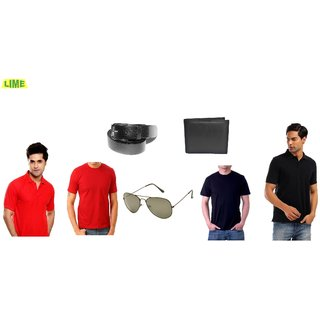 Set Of Black & Red Polo & Round T-Shirts With Belt, Sunglass & Wallet (Option 1)
