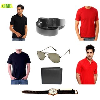 Set Of Black & Red Polo & Round T-Shirts With Belt, Watch, Sunglass & Wallet