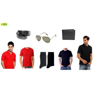 Set Of Black & Red Polo & Round T-Shirts With Sunglass, Wallet ,Belt & Socks