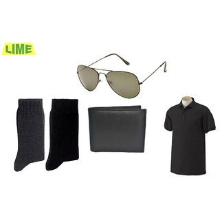 Black Polo T Shirt With Free Sunglass, Wallet & 2 Pair Of Socks