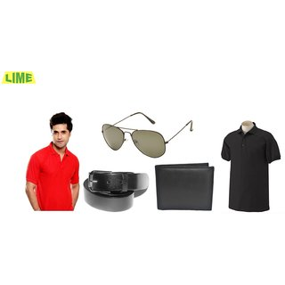 Black & Red Polo T-Shirt With Free Sunglass, Belt, Wallet