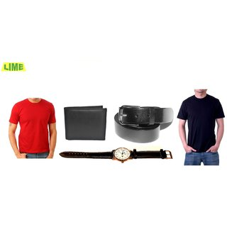 Black & Red Round T-Shirts With Free Belt, Wallet & Stylish Watch