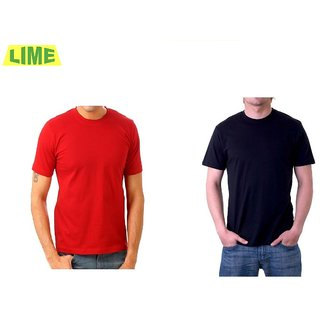 Combo Of Black Round T Shirt And Red Round T Shirt