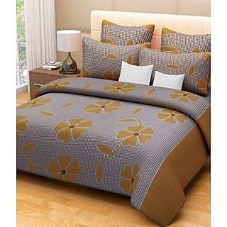 Akash Ganga Brown Cotton Double Bedsheet