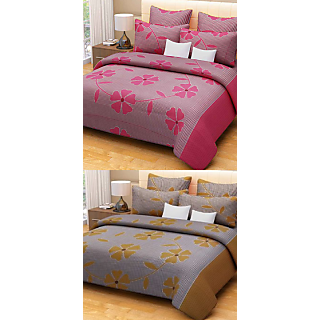 Akash Ganga Combo of 2 Cotton Double bedsheet with 4 Pillow Covers
