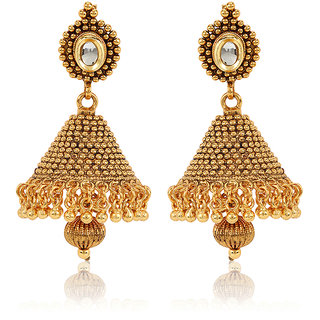 Jewels Galaxy 18Kt Gold Plated Kundan Jhumka