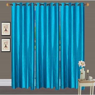 Deepansi Handloom Plain Crush Sky Blue Color  Window  Curtain(set of 3)-5feet