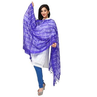 Kataan Bazaar Checkered Navy Blue Banarasi Dupatta