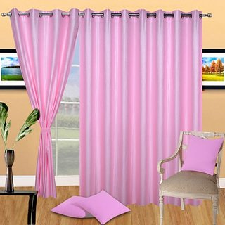 Deepansi Handloom Plain Crush Pink Color Long  Door Curtain(set of 3)-9feet