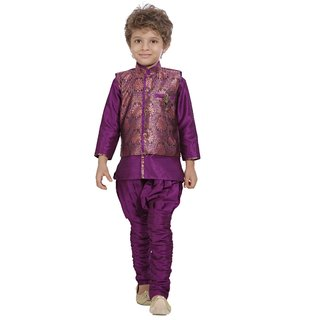 Jeet Stylish Purple Jacket Kurta Pyjama Suit for Boys
