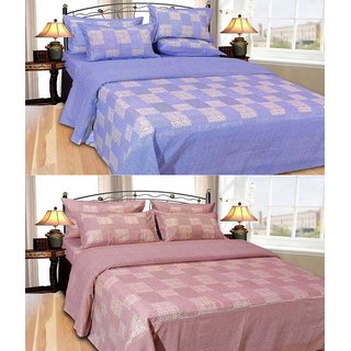 Shiv Fabs Cotton Double Bedsheets with 2 Pillow covers Combo of 2 ( XXX63 )